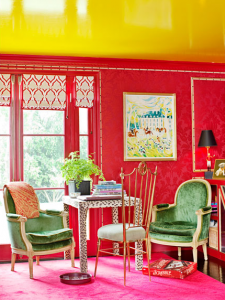 pink and green interiors, luxury decors, green chairs.