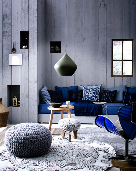 Indigo Colour For Decoration. Denim Modern Lounge