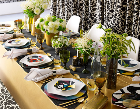 Art Deco Tablescapes, Diane von Furstenburg  table decor, art decor table decor, modern table setting ideas